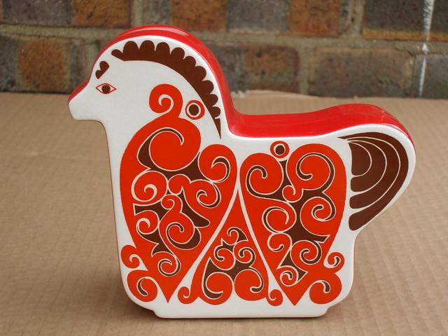 1970's Vintage Carlton Ware Orange & Brown Psychedelic Retro Ceramic Horse Moneybox / Piggybank
