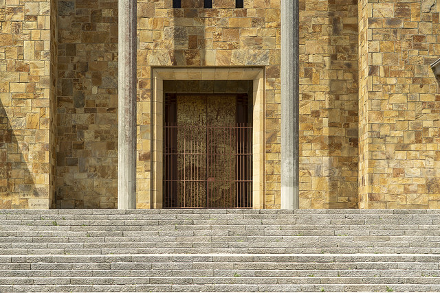 Door, pillars and stairs