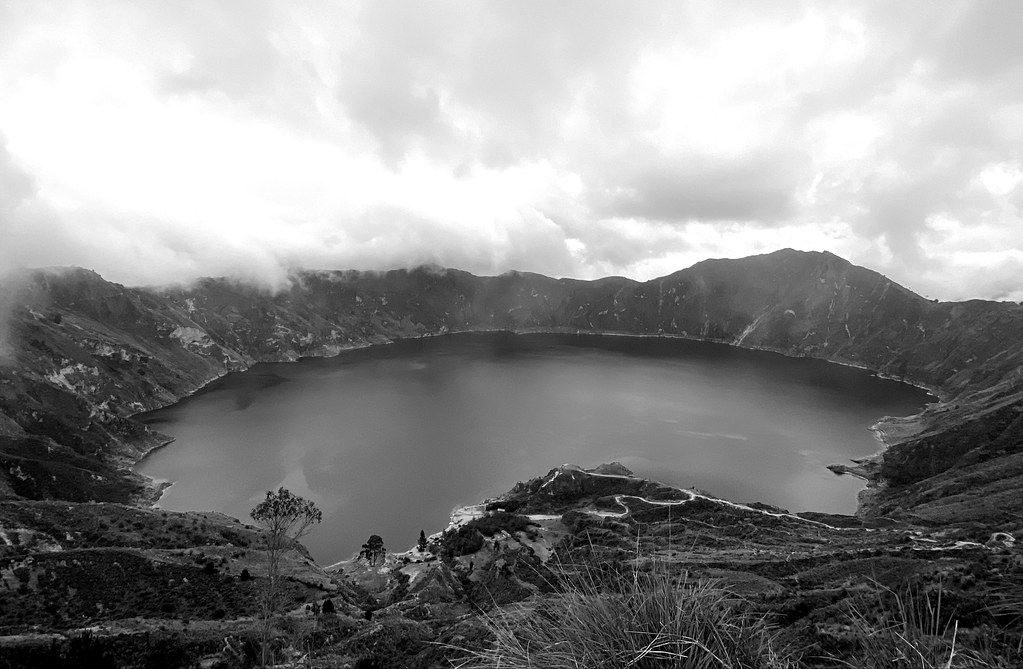 The Famous Volcanic-Crater Lake of Laguna Quilotoa at 3,870 meters (12,696 ft) MSL, Pujilí, Cotopaxi Province, Ecuador.