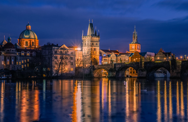 Charles bridge at blue hour