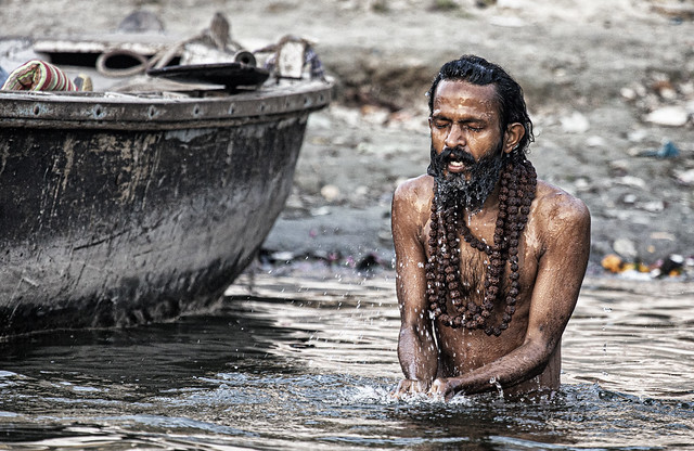 A Sadhu Does Ablutions In The Ganges