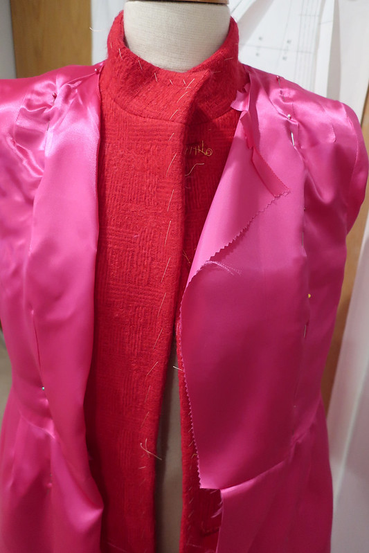 Red wool coat lining1