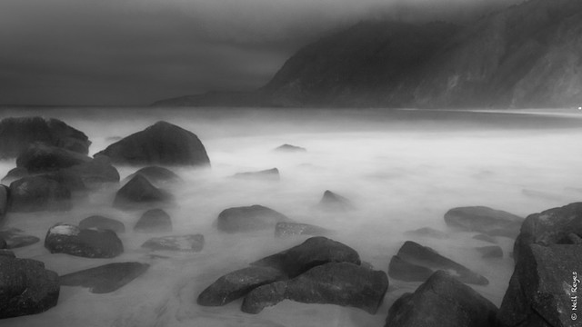 Foggy seascape at night