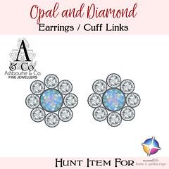 Ashbourne & Co - Hunt Item - Opal and Diamond Earrings or Cuff Links