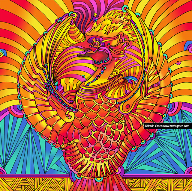 Phoenix Firebird Fawkes Pop Art Psychedelic Painting