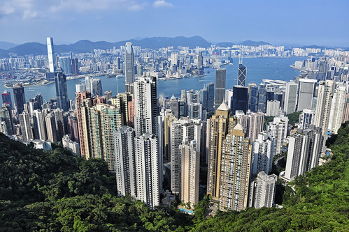 hongkong china asia victoriapeak view panorama skyline skyscape water city skyscraper building architecture modern contemporary victoriaharbour