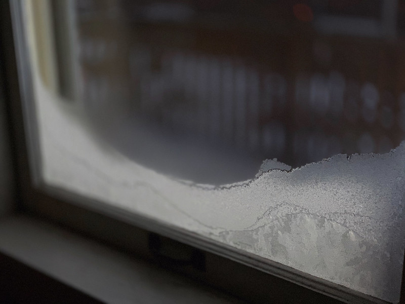 window with frost on the inside