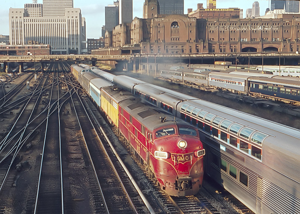 "GM&O E7A 103 departing Chicago Union Station on October 14, 1973.   This was one of the short-lived Amtrak trains between Milwaukee and St. Louis, the ""Abe Lincoln"" headed toward St. Louis."