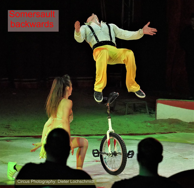Circus Show -  With Somersault backwards from the Unicycle