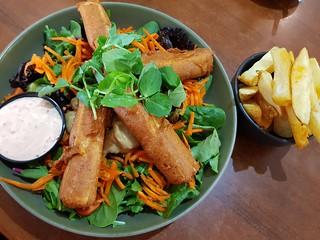 Satay Tofu Salad with chips at The Green Edge