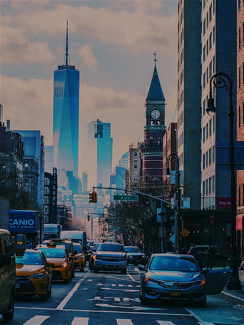 Perspective of View of 6th Ave. NYC looking South from 14th Street to WTC Nikon D7500 50.0-150.0mm f/2.8 ƒ/13.0  62.0mm 1/2500  ISO1600