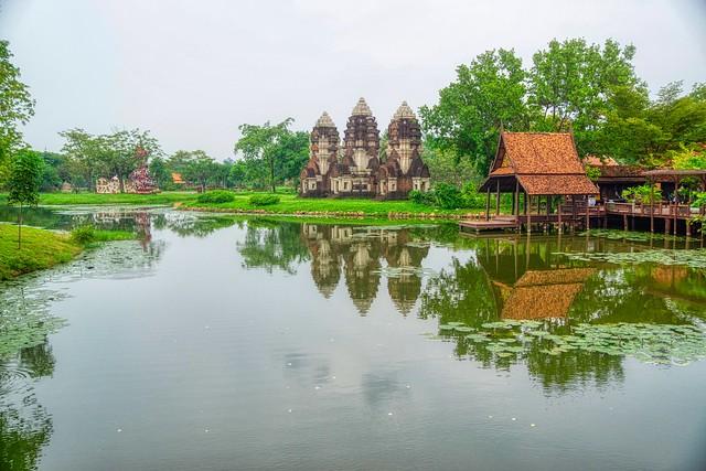 Lake with reflections in Muang Boran (Ancient Siam) in Samut Phrakan near Bangkok, Thailand