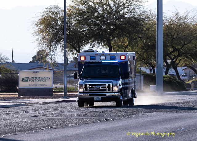 Medic west Ambulance 107 responds to a vehicles accident with 3 transportable victims in NorthEast Las Vegas