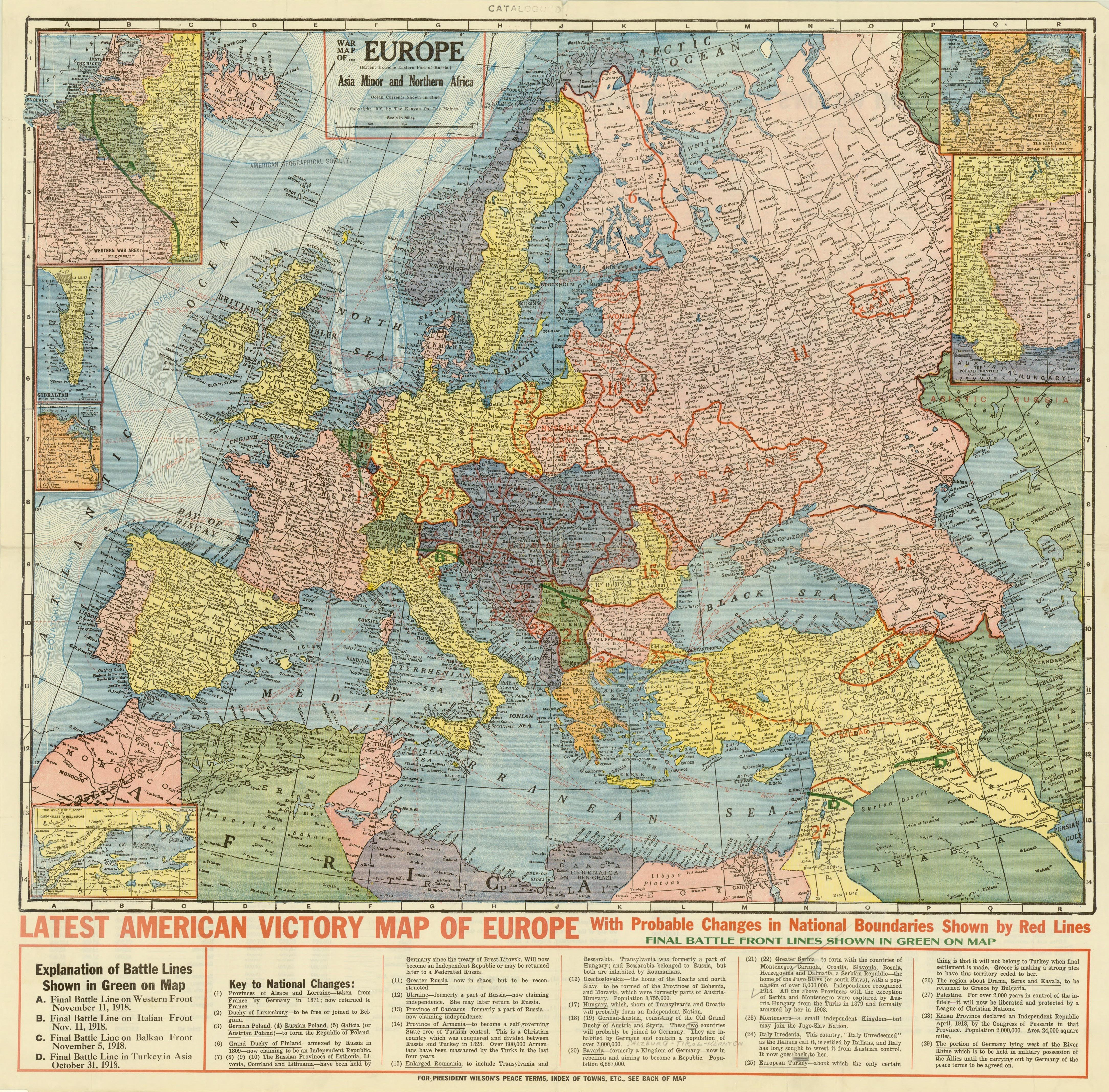 American Victory Map Of Europe Made After The End Of Ww 1 Showing Roughly What Should Be Borders Of New States Vivid Maps