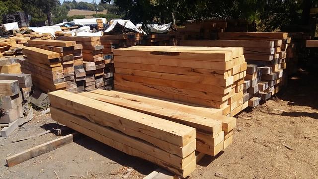 Macrocarpa sawn timber in timber yard