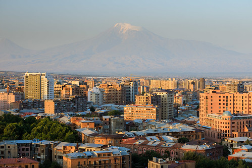 yerevan armenia mount ararat city panorama morning downtown center valley
