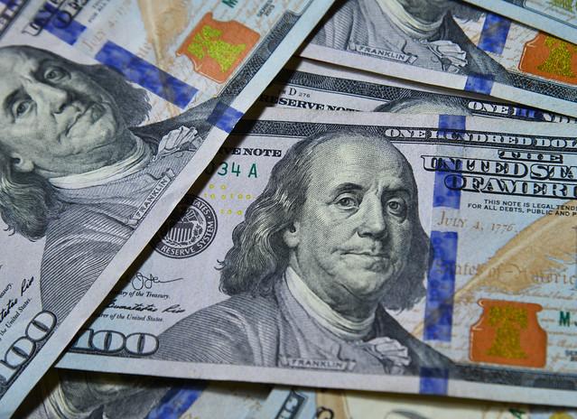 100 US dollar billnote (USD) background