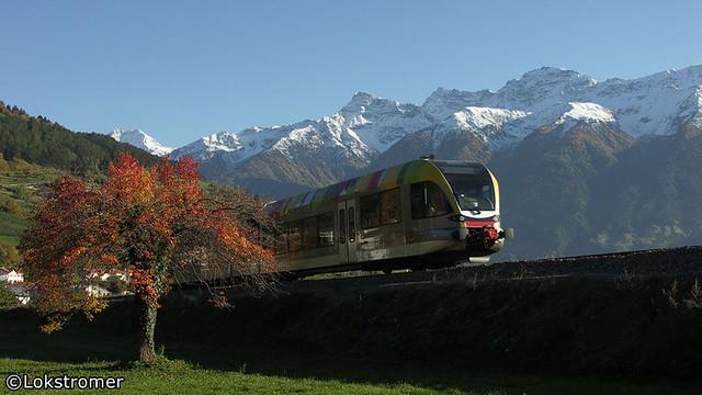 Herbststimmung auf der Vinschgerbahn am 16. Oktober 2005