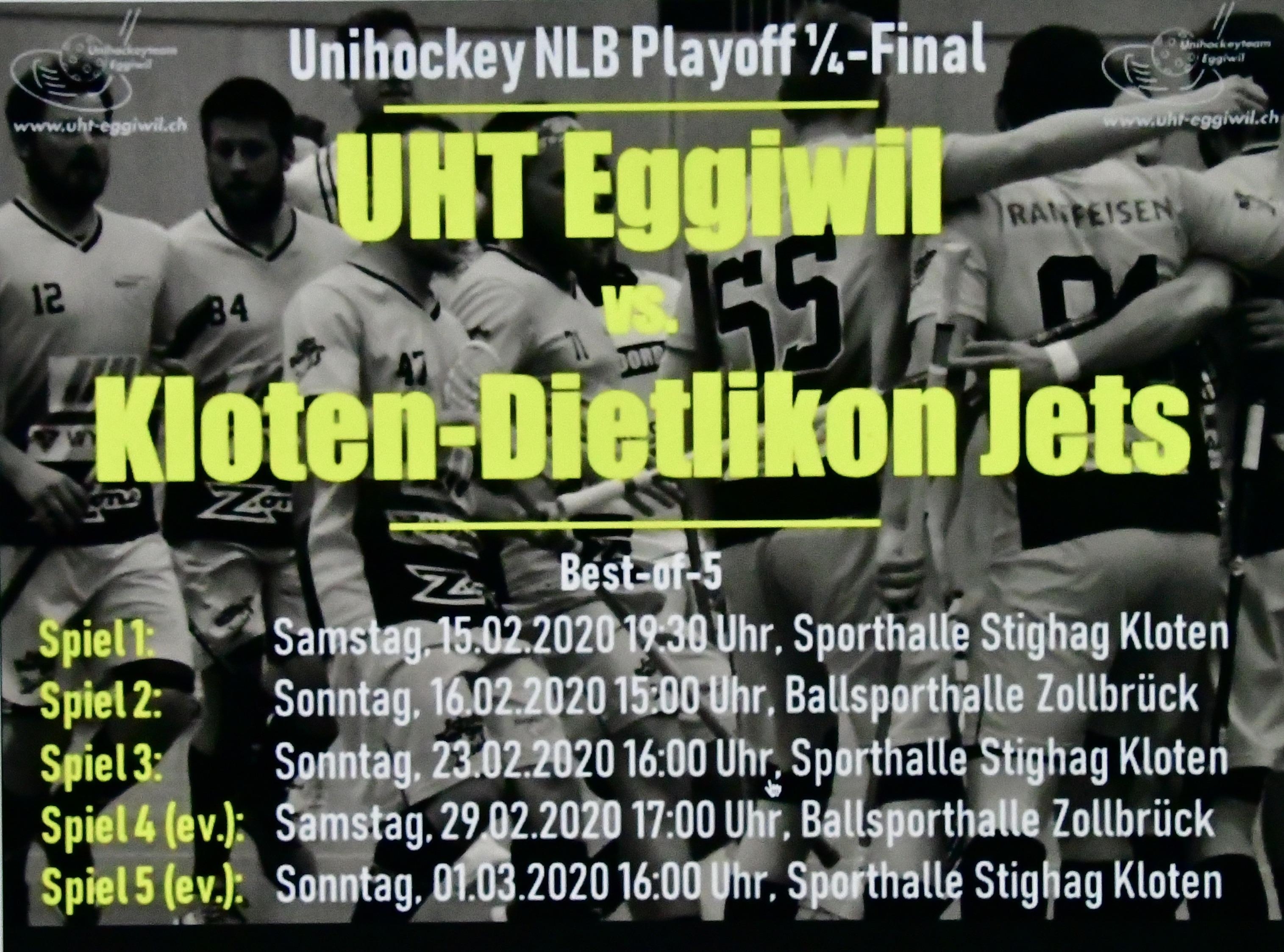 Herren l - Kloten-Dietlikon Jets, Unihockey NLB Playoff 1/4 Final, Spiel 1, Saison 2019/20