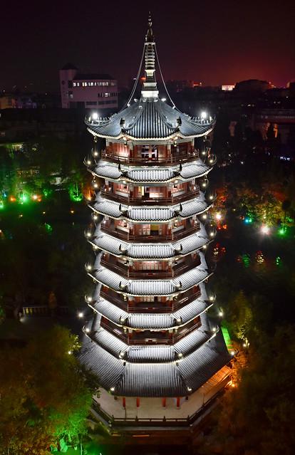 Guilin Moon pagoda and city skyline at night, China