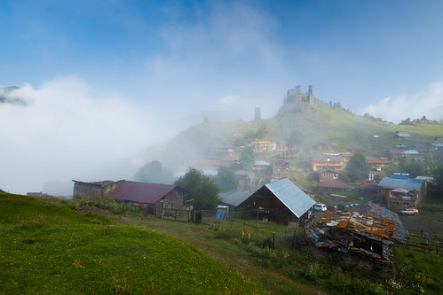 tusheti zemoomalo kakheti georgia village historic mountains caucasus mist cloud settlement tower defensive georgian ngc