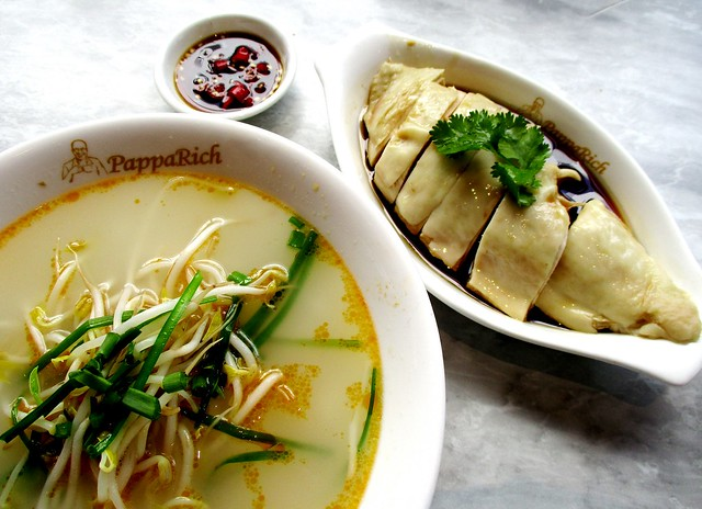PappaRich kway teow soup & steamed chicken