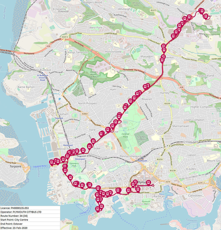 Plymouth Citybus Map