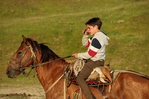 tusheti zemoomalo kakheti georgia boy horse horseback afternoon holiday mountains caucasus rural riding traditional georgian summer omalo