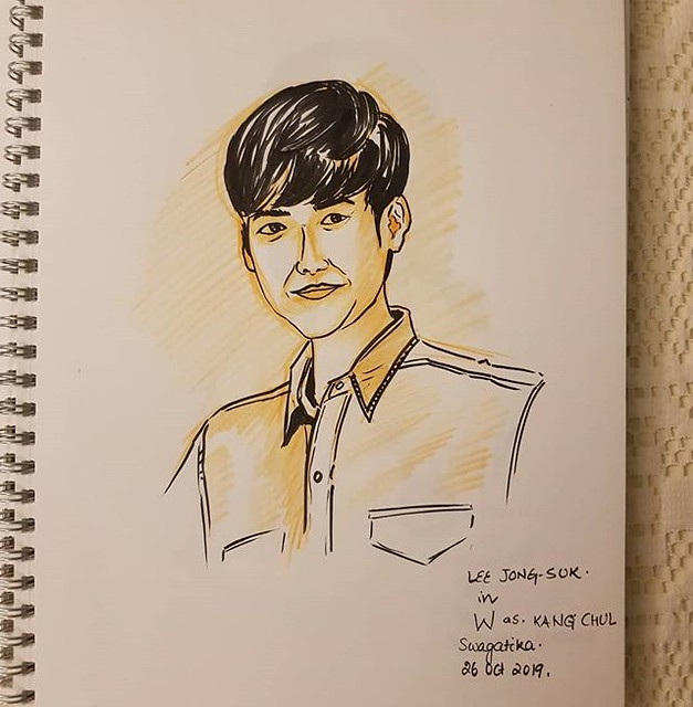 Back to posting inktober sketches of last year. #leejongsuk #w #kangchul #kdrama #peoplesketching #inktober2019