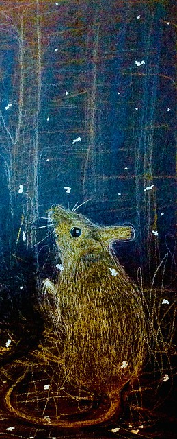 First Snow. Coloured pencil drawing on black card by jmsw.