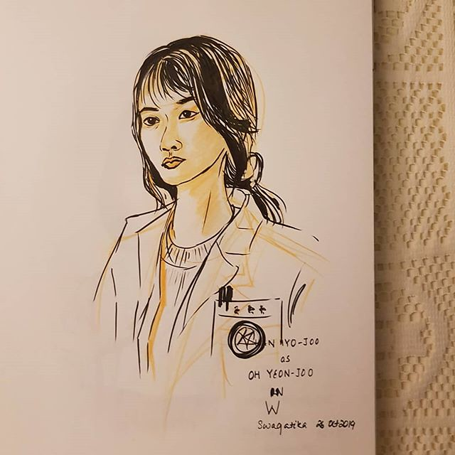 #hanyojoo as #ohyeonjoo in #kdrama W #w #peoplesketching #inktober2019