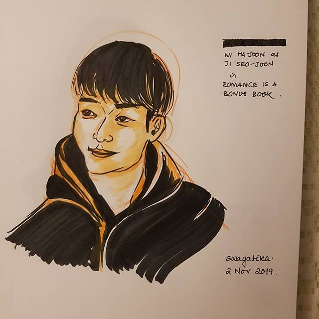 #wihajoon as #jiseojoonin #romanceisabonusbook #kdrama #peoplesketching #inktober2019