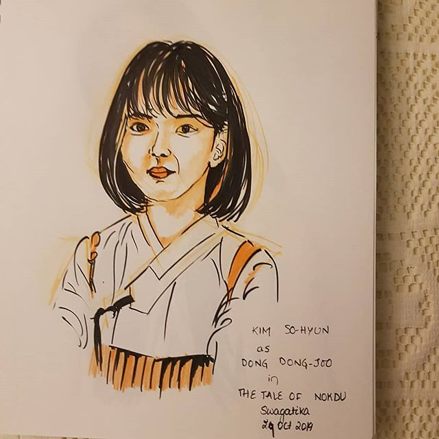 #kimsohyun as #dongdongjoo in #thetaleofnokdu #kdrama #peoplesketching #inktober2019
