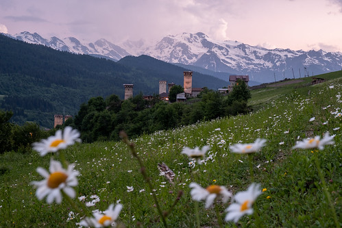 georgia svaneti mestia svan towers sunset blue hour twilight travel mountains