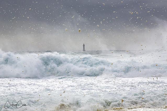 Tempête de neige au phare de la Jument