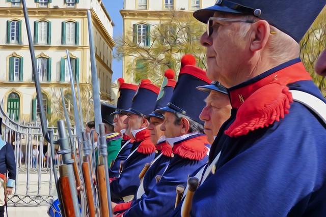 soldados en la plaza de la merced