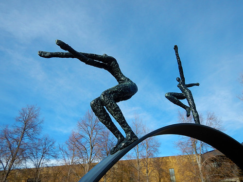 Sculpture of leaping people at Mission Hill vineyard in Kelowna, Canada