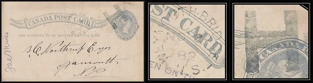 Nova Scotia / N.S. Postal History - 8 November 1882 - WEYMOUTH BRIDGE (Digby County), N.S. (split ring / broken circle cancel / postmark) with Fancy