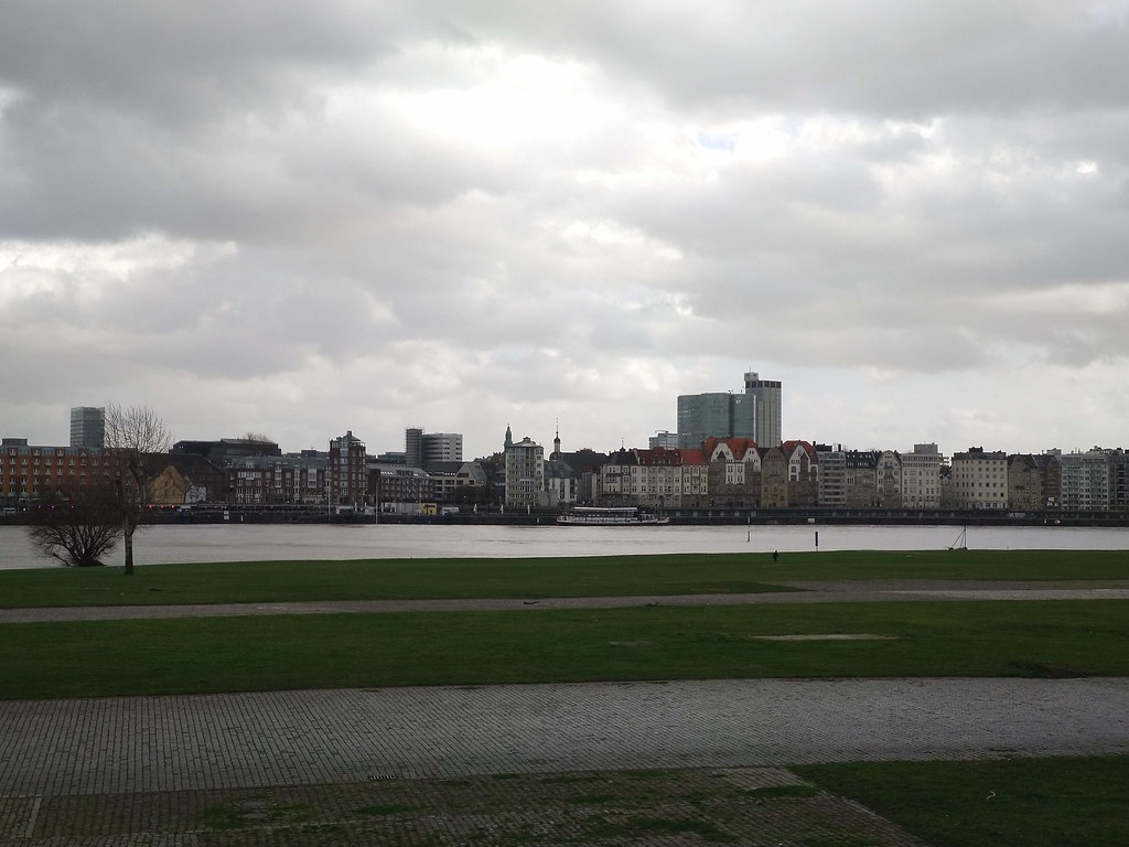 Views across to Altstadt, Dusseldorf's old town