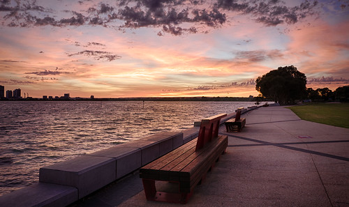 bench perth southperth dawn sunrise