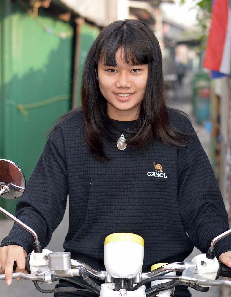 pretty motorcyclist