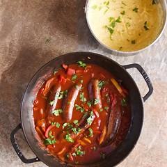 Sausage-Pepper Ragu with Polenta