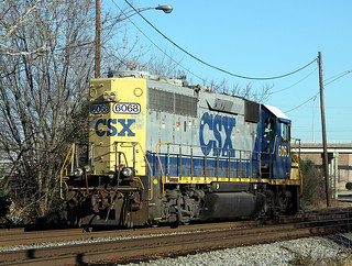 CSX SD40-2 6068 (ex-C&O 4169) at Bassett St., Rocky Mount, NC on Devember 14, 2012