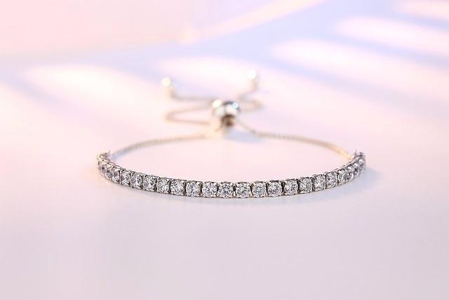 Elegant 925 Silver Sterling Crystal Bracelets