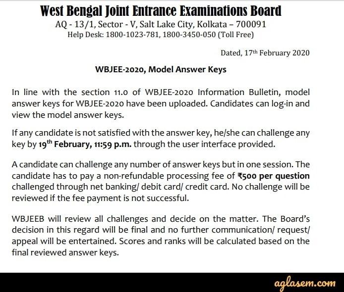 WBJEE Answer Key
