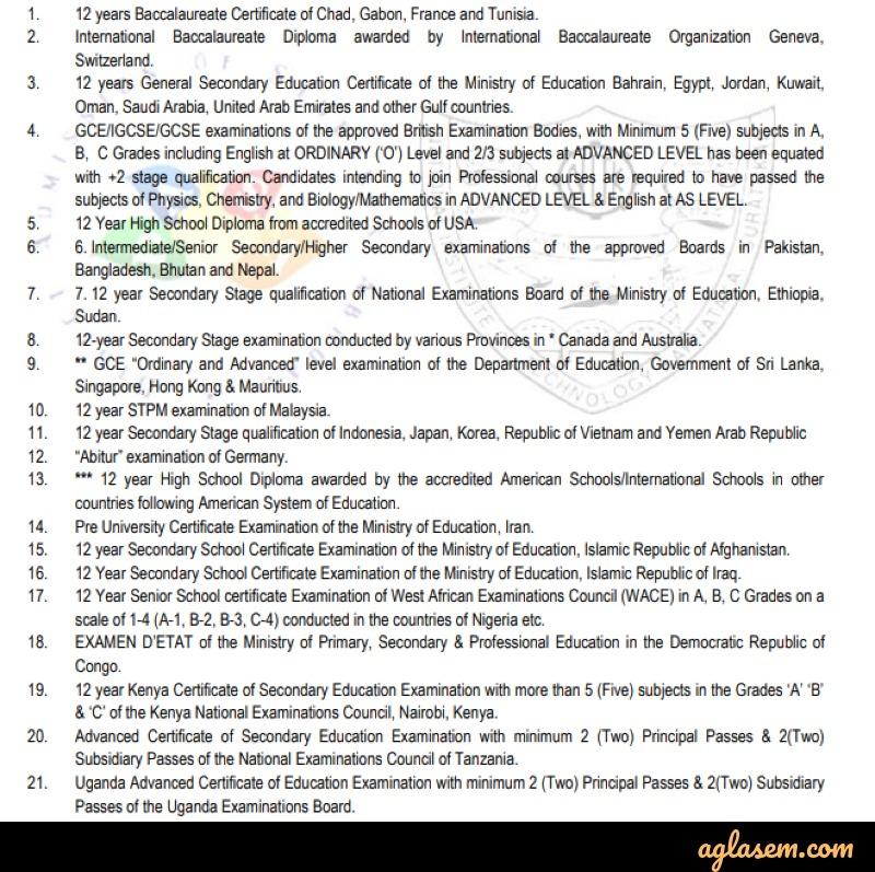 DASA 2020 Academic Qualification