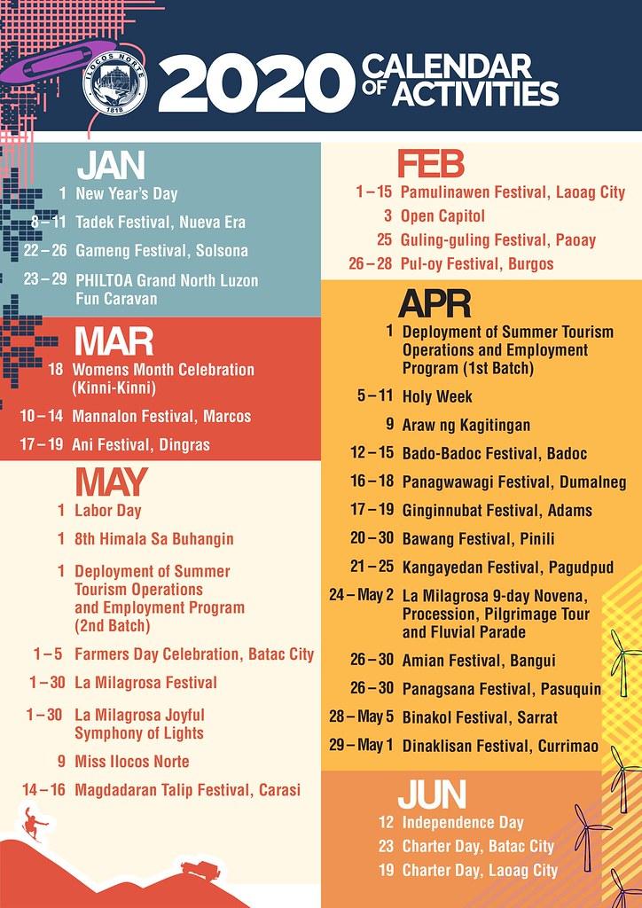 Calendar of Activities 2020