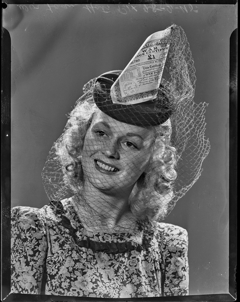 'Horn Of Plenty', Victory Hat, worn by  Marie Haigh, war loan series, 28 February 1945, photographed by Grimes, PIX Magazine