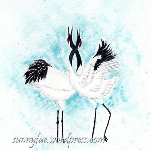 valentines card dancing cranes