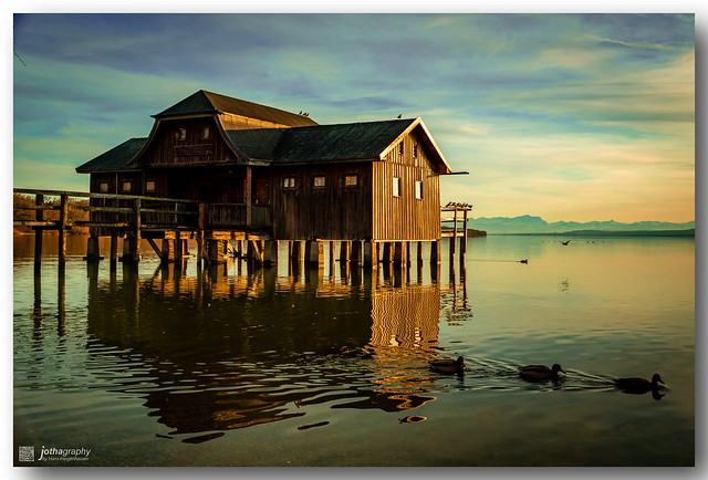 My favorite boathouse in winter sunset